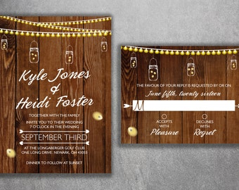 Rustic Wedding Invitations Set Printed - Lights Wedding Invitations, Burlap, Kraft, Wood, Affordable, DIY, Woodsy, Cheap, Country, Southern