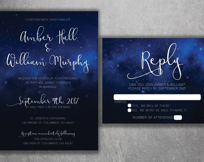Stars Wedding Invitation, Night Sky Wedding Invitation, Stars, Summer, Blue and White, Dream, Wedding Invite, Summer Wedding Invitation