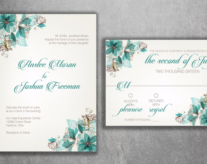 Vintage Floral Wedding Invitations Set Printed - Boho Teal Wedding Invitations -Floral, Boho, Modern, Elegant, Flowers, Affordable, Cheap
