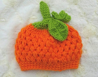 Crochet pumpkin hat . Crochet beanie.  Baby beanie.  Pumpkin beanie.  Halloween hat. Photo props