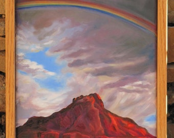 "Original Oil Painting,  ""Rainbow Over Smithsonian Butte"""