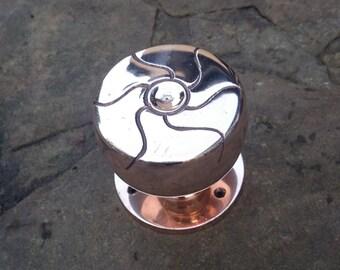Art nouveau Polished copper centre door knob