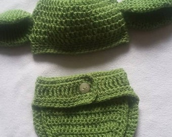 Star Wars inspired Baby Yoda Hat and Diaper Cover Photo Shoot Prop 0-3 months