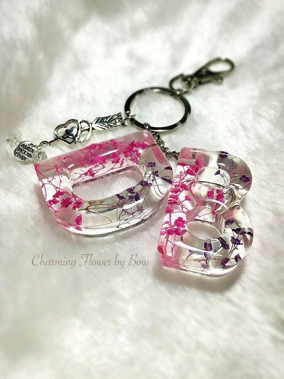 Flower Resin Keychainspersonalized By Jadziajewelry On Etsy