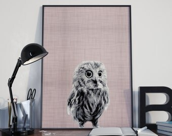 Owl Nursery Decor, Owl Print, Owl Wall Art, Pink Animal Art, Bird Prints, Bird Wall Art, Pink Nursery Decor, Animal Nursery Print,Printable