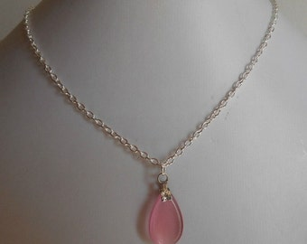 Minimalist necklace drop pink glass