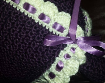 Plum and Cream Ribboned Baby Blanket