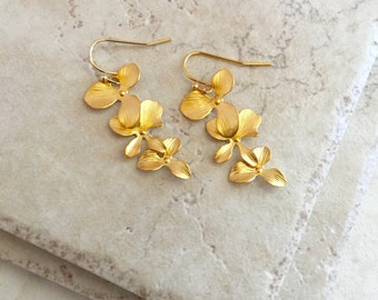 Bright Gold Cascading Orchid Earrings Triple Orchid Earrings Bridesmaid Gifts Bridesmaid Earrings Bridal Earring Flower Earrings Gold Orchid