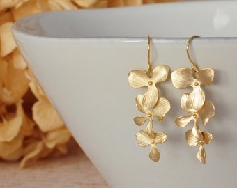 Cascading Gold Orchid Earring Triple  Orchid Bridesmaid Gift Bridesmaid Earring Wedding Earring Bridal Earring Flower Earring Floral Earring