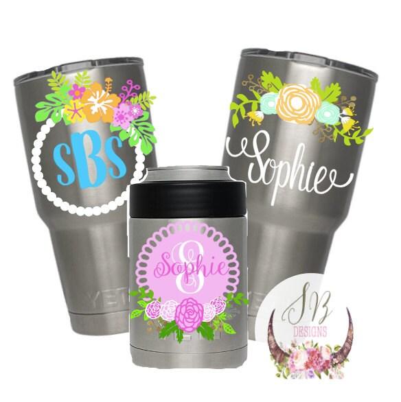 Shop Floral Monograms At Littlebrownnest Etsy Com: Floral Monogram Decal Customizable Decal Floral Monogram