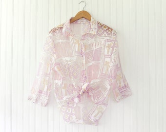 1990s see-thru pastel button-up | Abstract 90s 3/4 sleeve lilac and pink blouse