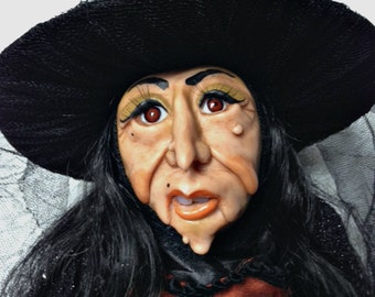 Halloween Witch, Witch Doll, Halloween Decoration, Art Doll, Polymer Clay Doll