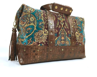 Magic Carpet Carry-On Duffel Weekend/Overnight Bag Tapestry and Leather