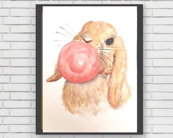 BUNNY BLOWING BUBBLE - original watercolor painting bunny rabbit blowing pink gum bubble nursery decoration decor baby shower sweet bunny