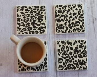 Animal Print Handmade Drink Coasters, Coaster, Coasters, Tile Coasters, Drink Coaster, Handmade Coasters, Coaster Set of 4, Beverage Coaster