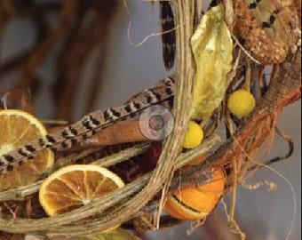 Orange Wreath - Christmas Card