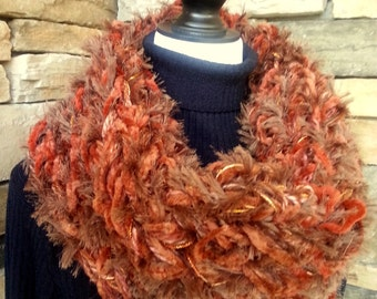 Hand Knitted Scarf, Cowl Neck Scarf,  Infinity Scarf, Rust Brown Scarf,  Chunky Scarf, Knit Cowl, Fuzzy Scarf
