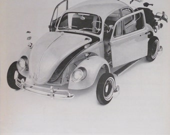 1966 VW Bug ad. VW. 1966 Volkswagen Beetle ad.  Vintage VW ad.  Black and white ad.  Life Magazine. Feb 18, 1966.