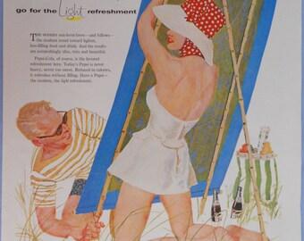 1958 Pepsi Cola Ad. Pepsi Cola ad.  Full color illustrated. Vintage Pepsi ad.
