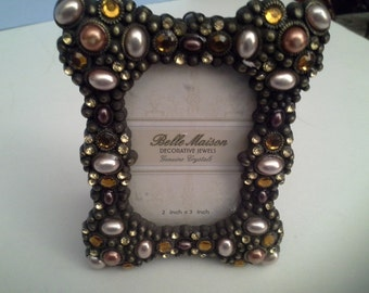 Rhinestone and peral like stones, mini frame, with glass