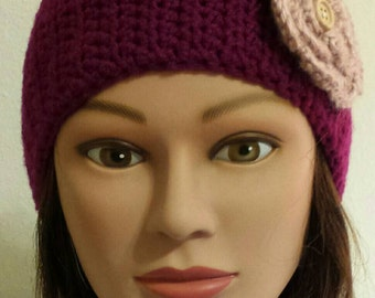 Woman's Crochet raspberry/pink flower ear warmer.