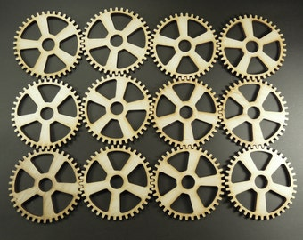 12x7,5cm laser cut steampunk gears for crafting. High quality, afordable shipping, birch plywood.