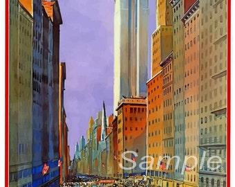 Vintage 5th Avenue New York Travel Poster Print