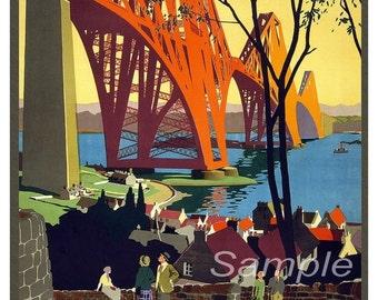 Vintage LNER Forth Bridge Scotland Poster Print
