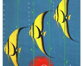 Vintage Great Barrier Reef Australia Travel Poster Print