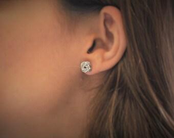 Love Knot Earrings in Sterling Silver  Love Earrings  Silver Earrings  Knot Earrings