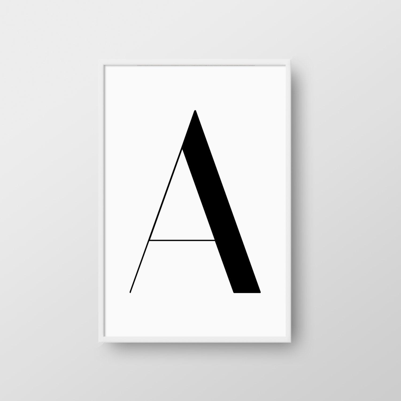 letter a printable poster scandinavian letter print