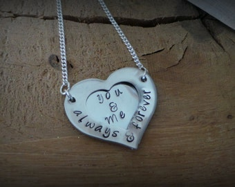 You & Me Heart Hand Stamped Necklace