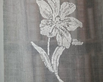 "Sprig Rose Madras cotton lace curtain panel 46"" x 100Inch long Lene Bjerre style 2.5m readymade"