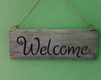 Reclaimed Wood Sign,Decorative Welcome sign, Barn wood Welcome sign,