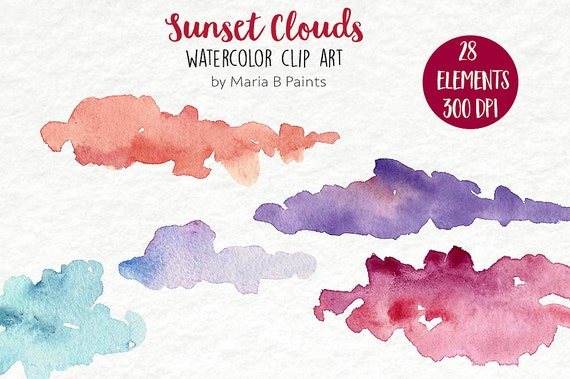 Watercolor Clip Art Sunset Clouds Personal Use Instant