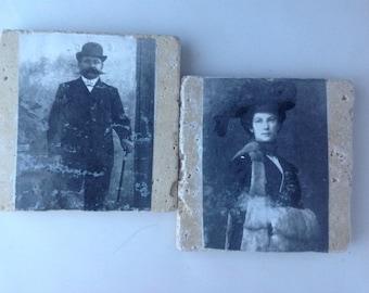 Antique people photo coasters set of 2