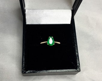 NATURAL Zambian Emerald Solitaire Gold Ring 0.75ct Pear Cut 14k Jewellery RARE