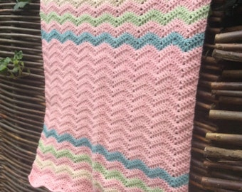 Soft pink ripple baby blanket