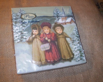 20 Recycled Paper Christmas Napkins,Serviettes from Poland. Children Carol singers Christmas Design