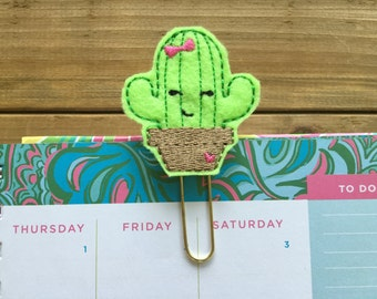 Cute Little Cactus Planner Paper Clip! Succulent Gold Planner Clip Bookmark Stationery Accessory Girly Cactus School Supplies