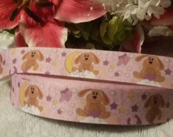 "3 yards, 7/8"" floppy ear bunny design grosgrain ribbon"
