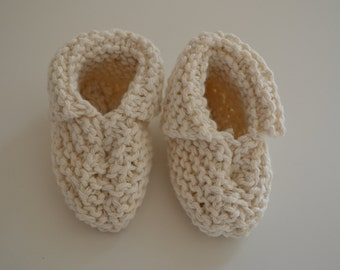 Baby booties, hand-knit baby booties,