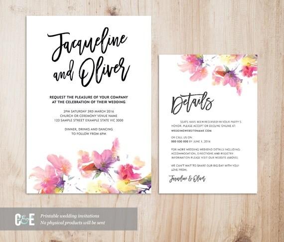 Multicolour Watercolor Wedding Invitation Details Card Set