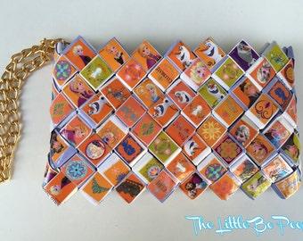 Frozen wallet ,Candy wrapper purse, Handmade wallet, Card holder, Women's wallet, orange wallet, cute wallet, frozen