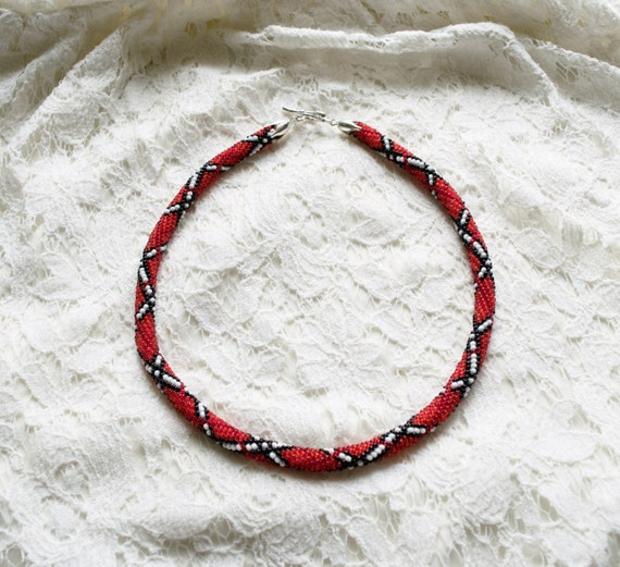 seed bead crochet rope necklace black beaded rope
