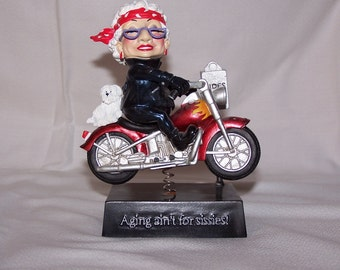 """Biddy Figurine from Westland Giftware """"Aging ain't for Sissies"""" Motorcycle Grandma"""