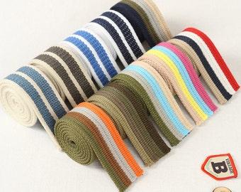 3.8cm / 1.5 inch Width Cotton Canvas Webbing/ Bag Purse Strap Tape Multi Colour Bag Strap Belt Stripe Pattern, Bag Handle, 5 Yards, R35