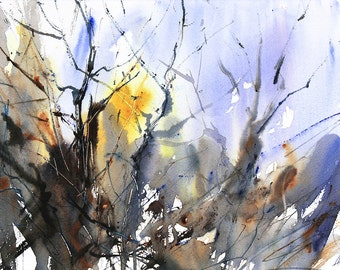 Expressive Semi Abstract Watercolour Art. Chaos of Winter Trees