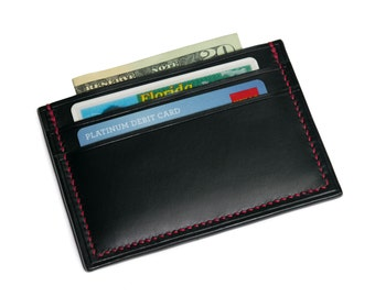 Italian Leather Card Holder Wallet | Front Pocket Wallet | Business Card Holder  | Full Grain Leather Wallet