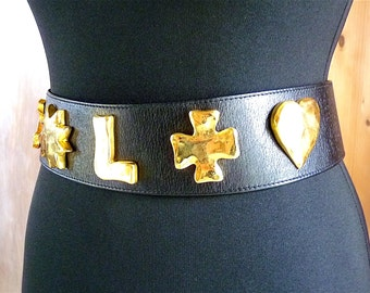 Christian Lacroix Belt, Vintage, Very Rare Collectible, Luxurious Belt, French Designer Brand, Black Leather, Gold Tone, Chic, Gift for Her